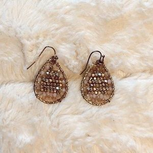 francesca's pink and gold beaded earrings